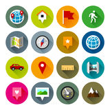 Maps and navigation icons – Fllate series. Professional vector flat and long shadow icons for your website, application and presentation stock illustration