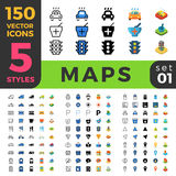 Maps Navigation 150 line flat isometric mobile web Stock Photo