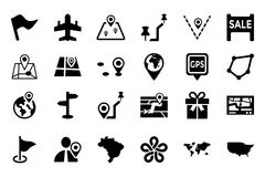 Maps And Navigation Vector Icons 5 Stock Images