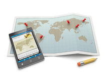 Maps and navigational charts. Mobile phone and search for the location map Stock Image