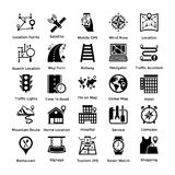 Set of Different Locations, Maps and Navigations Glyph Icons. Maps and navigations are very important for traveling and adventures!Here are a rich collection of Stock Photography