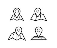Maps and pins icons. Maps and pins vector icons. Make your own custom location pin icon. Map with pin symbol. Navigation and route concept illustration. Vector Royalty Free Stock Image