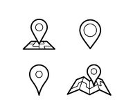 Maps and pins icons. Maps and pins vector icons. Make your own custom location pin icon. Map with pin symbol. Navigation and route concept illustration. Vector Stock Photography