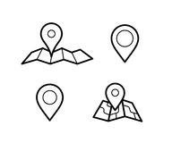 Maps and pins icons. Maps and pins vector icons. Make your own custom location pin icon. Map with pin symbol. Navigation and route concept illustration. Vector Stock Images