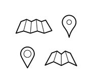 Maps and pins icons. Maps and pins vector icons. Make your own custom location pin icon. Map with pin symbol. Navigation and route concept illustration. Vector Stock Photo