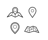 Maps and pins icons. Maps and pins vector icons. Make your own custom location pin icon. Map with pin symbol. Navigation and route concept illustration. Vector Royalty Free Stock Photos