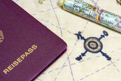 Maps of Seefeld and German passport Stock Photography