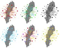 Maps of Sweden with fireworks. Detailed and accurate illustration of maps of Sweden with fireworks stock illustration