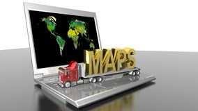 Maps on the truck and informatics. MAPS written in golden letters on a truck, upon a laptop PC with the world map shown on its monitor Royalty Free Stock Images