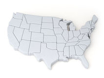 Maps of the United States. 3D illustration Royalty Free Stock Photos