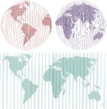 Maps of the World. Map and Globe of the World, vector illustration Stock Images