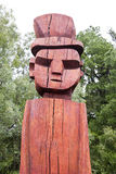 Mapuchean totem face at Temuco. Mapuchen totem face at Temuco, Chile stock photography