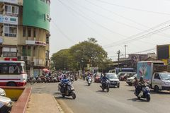 Auto and moto traffic on the streets of the Indian city. Mapusa, Goa/India - 24.01.2019: auto and moto traffic on the streets of the Indian city royalty free stock images