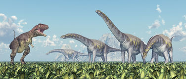 Mapusaurus and Argentinosaurus Royalty Free Stock Image