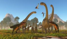 Mapusaurus dinosaurieattack royaltyfri illustrationer
