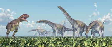 Mapusaurus ed Argentinosaurus illustrazione vettoriale