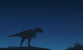 Mapusaurus einsam an den Nachtschattenbildern Stockbilder