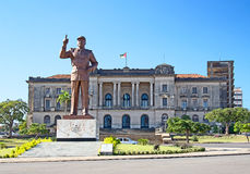 Maputo. City hall and statue of Michel Samora in Maputo, Mozambique Royalty Free Stock Photo
