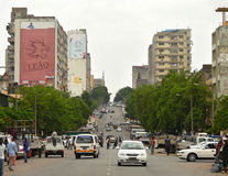 Maputo, Mozambique - December 11, 2008: in the capital of Mozamb. Ique. City life. Architectural structure. Unknown city residents go about their business. The Royalty Free Stock Photos