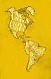 Mapy Aamerica rocznika kolor żółty royalty ilustracja
