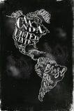 Mapy Ameryka rocznika kreda Zdjęcia Royalty Free