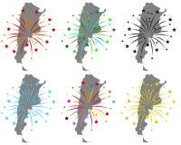 Mapy Argentyna z fajerwerkami royalty ilustracja