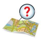 Mapy broszura z znakiem zapytania Zdjęcie Royalty Free