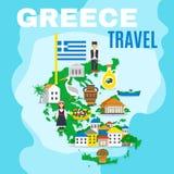 Mapy Grecja plakat Obrazy Stock