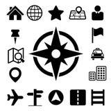 Mapy i lokaci ikony ustawiać Zdjęcie Royalty Free