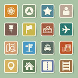 Mapy i lokaci ikony ustawiać Obraz Stock