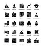 Mapy i nawigaci glifu ikony Ustawiać ilustracji