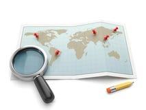 Mapy i nawigacyjne mapy. Mapa i powiększać - szklana rewizja fo Fotografia Royalty Free