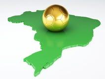 Mapy i piłki nożnej piłka Brazylia 2014 Odosobniony biel Obraz Stock