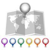 Mapy ikona z stubarwnymi Wałkowymi pointerami Obraz Stock