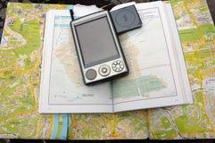 Mapy kieszeni i przewdonika pecet z GPS Obrazy Stock