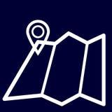 Mapy lub geolocation ikona ustaleni biali kontury Zdjęcia Royalty Free