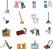 mapy obowiązki domowe ikony Fotografia Stock