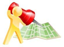 Mapy osoby wałkowy złocisty pojęcie Zdjęcie Stock