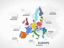 mapy politycznej Europy kontynentalna Zdjęcia Stock