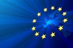 mapy politycznej Europy kontynentalna Obrazy Stock
