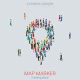 Mapy szpilki znaka kształta mikro ludzie tłoczą się płaskiego 3d wektor isometric Zdjęcie Stock