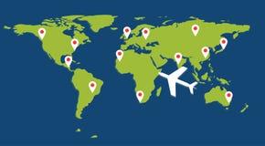 Mapy wiith szpilka i samolot Obraz Royalty Free
