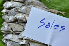 Maquereau bouilli sur la feuille fraîche de banane à vendre sur le marché Photos libres de droits