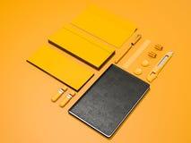 Maqueta amarilla de la identidad corporativa Imágenes de archivo libres de regalías