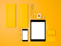 Maqueta amarilla de la identidad corporativa Fotos de archivo