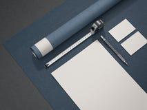 Maqueta arquitectónica azul del negocio representación 3d Foto de archivo