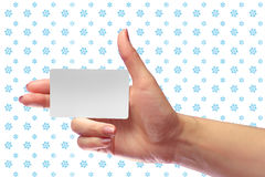 Maqueta blanca de la tarjeta de la mano del espacio en blanco femenino correcto del control SIM Cellular imagen de archivo libre de regalías