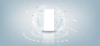 Maqueta blanca realista del smartphone con el concepto futurista de la tecnología, fondo del extracto del teléfono móvil, vector libre illustration