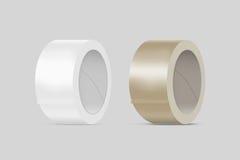 Maqueta blanca y amarilla en blanco de la cinta adhesiva del conducto, trayectoria de recortes fotografía de archivo
