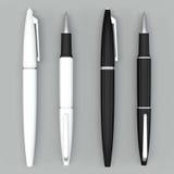 Maqueta blanca y negra de las plumas de bola en bacground brillante Imágenes de archivo libres de regalías